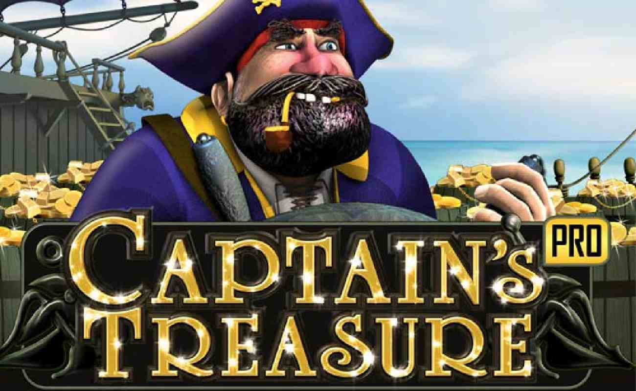 The cover image of Captain's Treasure with a Blackbeard-like pirate and the title.