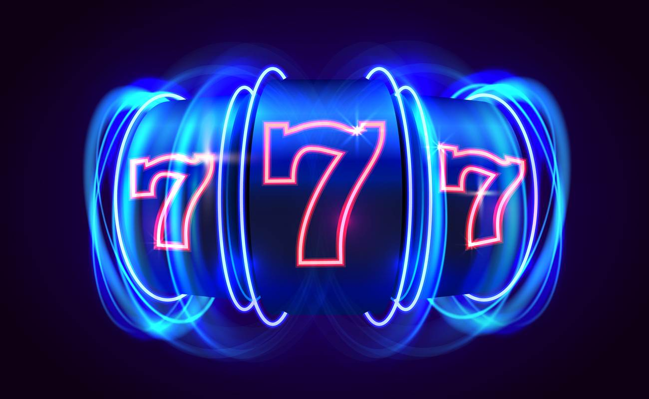 Illustration of a neon slot machine with '777' displayed on the reels.