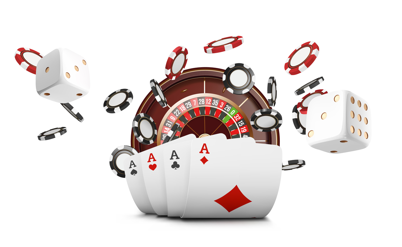 Cards, gambling chips and a roulette wheel against a white background.