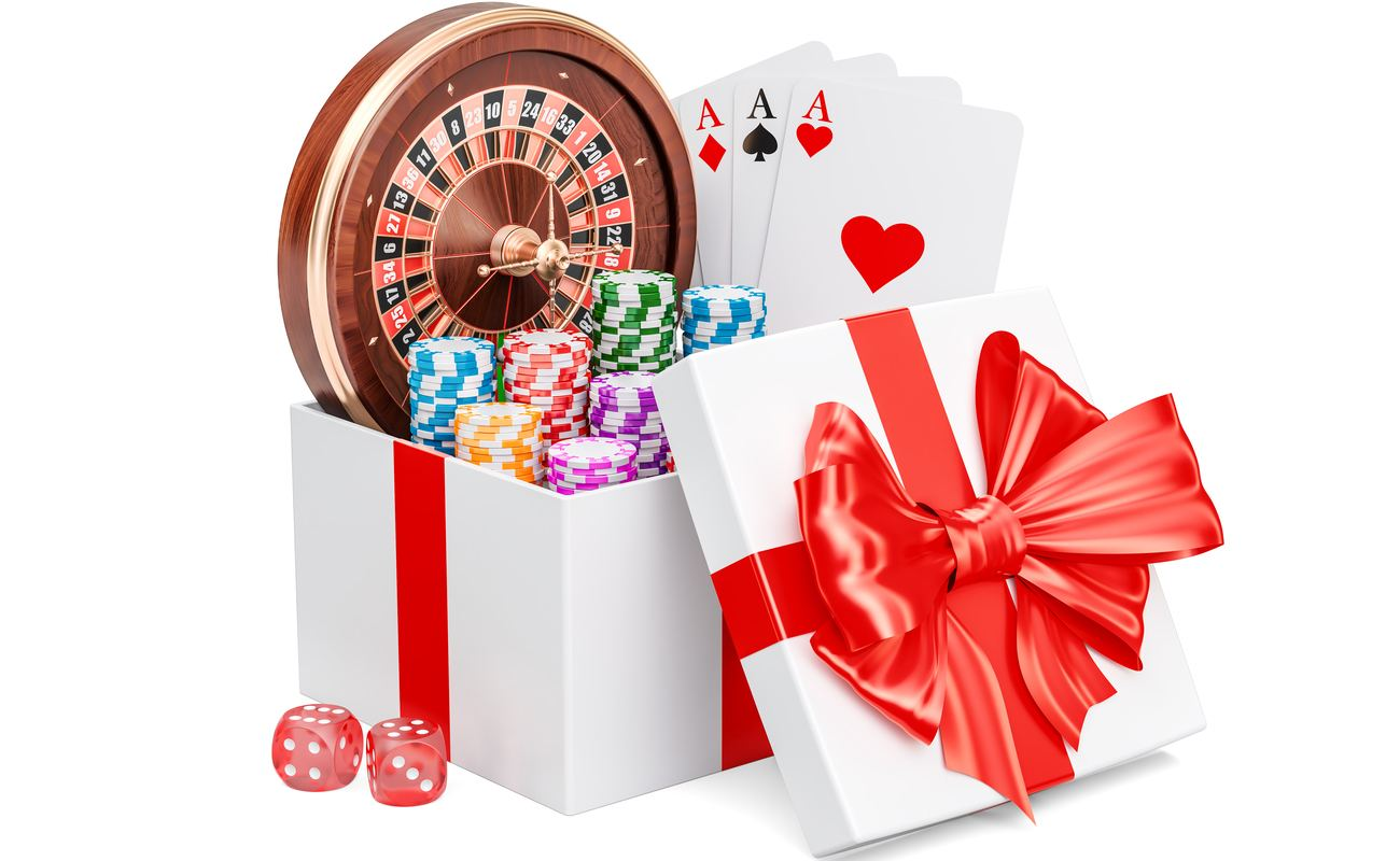 3D concept of a gift box full of casino-related presents including dice, chips, cards and a roulette wheel.