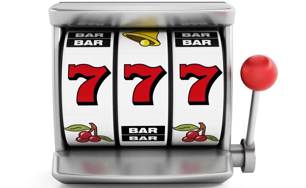 Traditional slot machine with lucky number 7s, BARs, cherries and bell symbols.