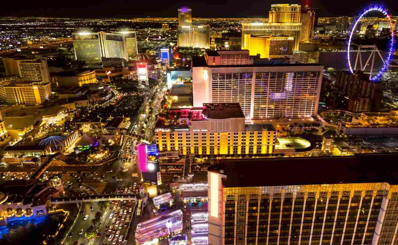 Part of the Las Vegas Strip at night.