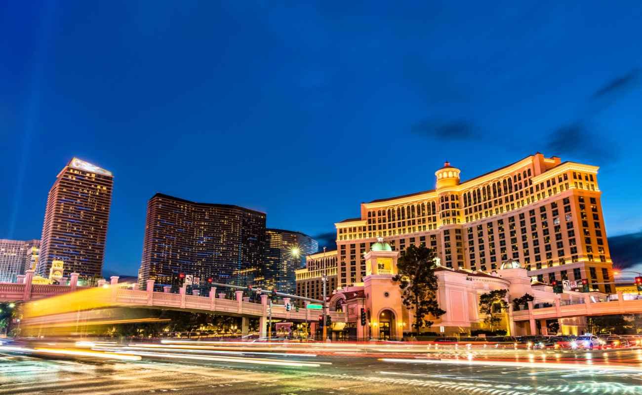 The Vegas skyline at twilight.