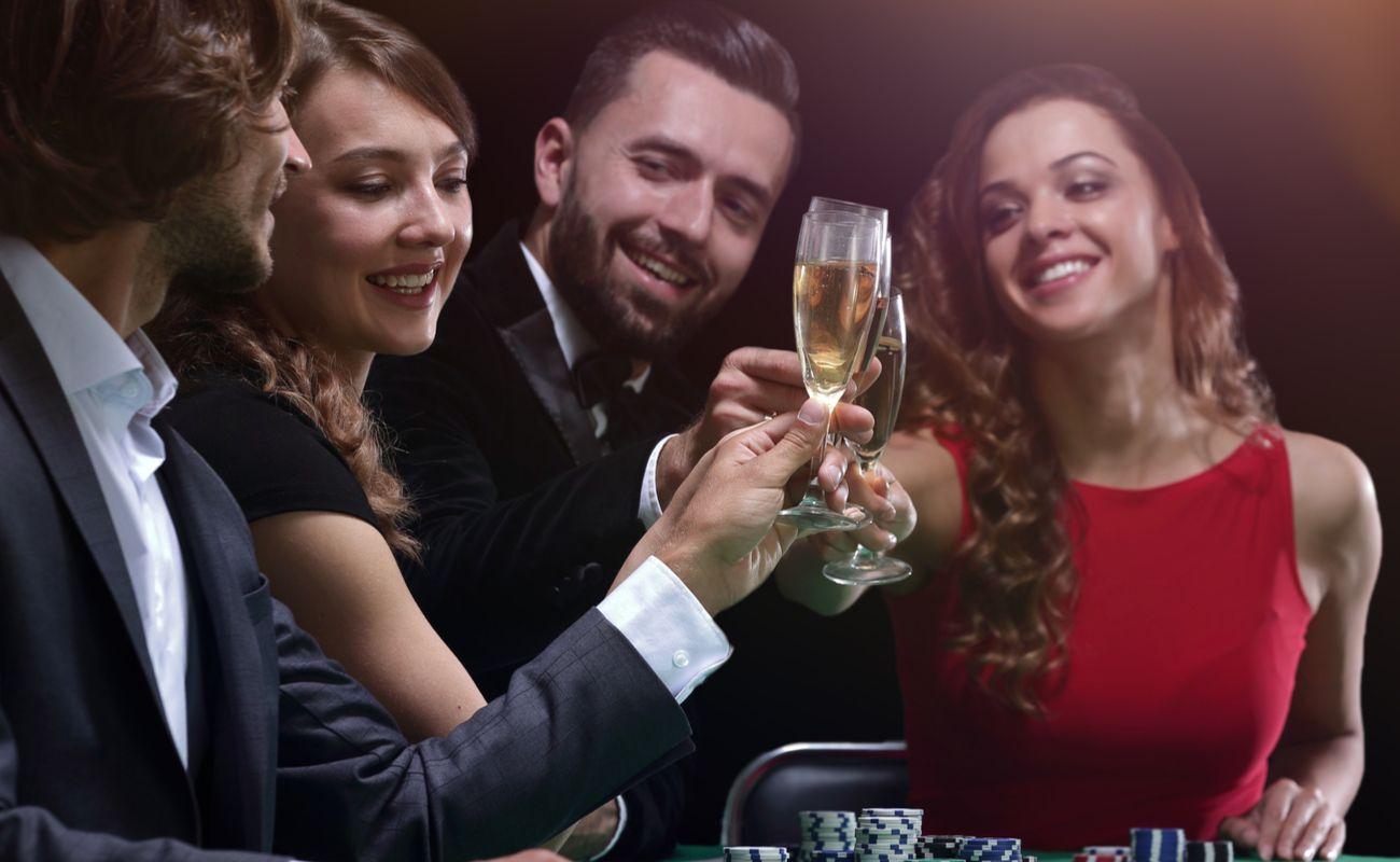 A group of friends celebrating a casino win.