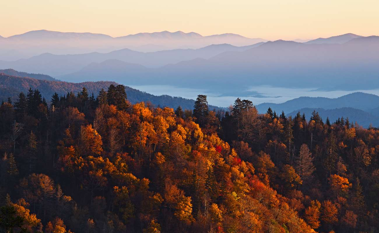 Sunrise over the Great Smoky Mountains in Tennessee in the fall.