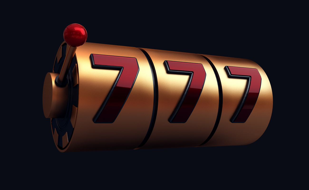 3D concept of a gold slot machine with red lucky number 7 symbols and a lever.