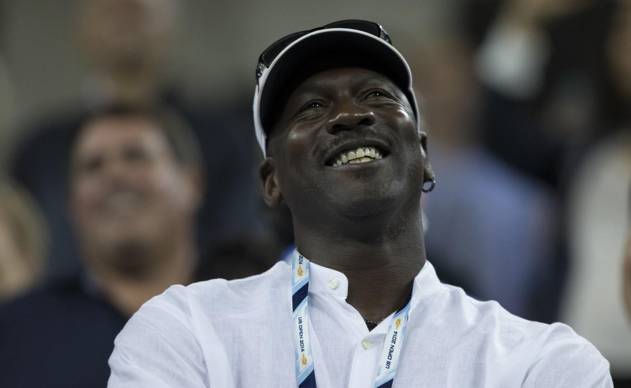 Michael Jordan looking up smiling