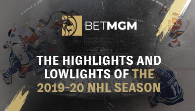 two ice hockey team charging aggressively for the puck next to the article title and BetMGM's logo