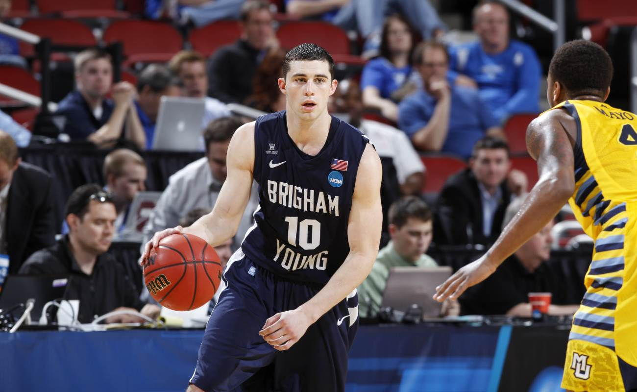 Matt Carlino of  Brigham Young Cougars brings ball up court against Marquette Golden Eagles during 2012 NCAA Men's Basketball Tournament
