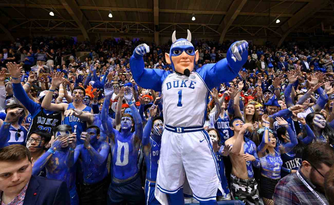 The Duke Blue Devils mascot performs during basketball game