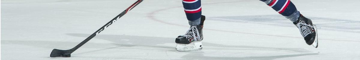 Ice hockey skates and stick
