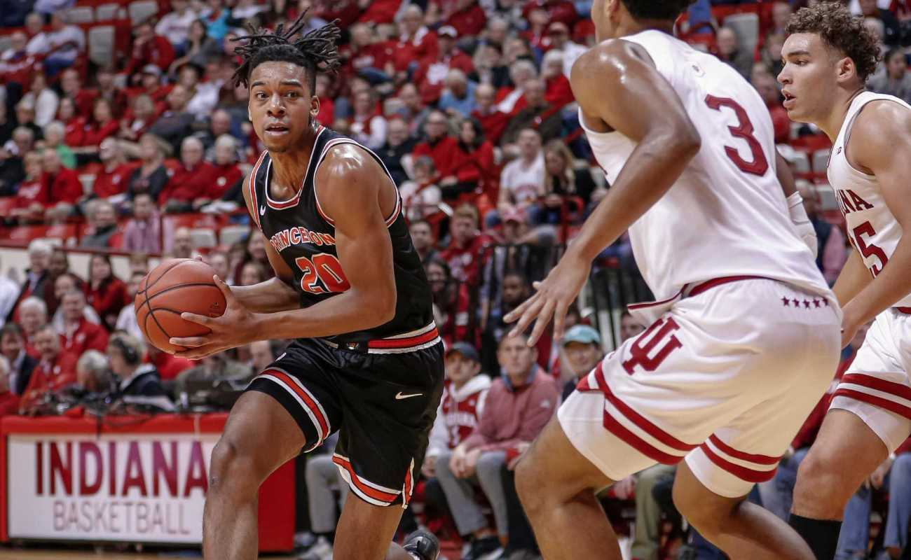 Tosan Evbuomwan of Princeton Tigers drives to the basket during game against Indiana Hoosiers