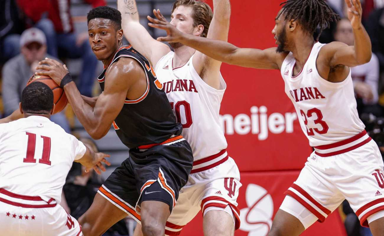 Richmond Aririguzoh of Princeton Tigers against Joey Brunk of Indiana Hoosiers at Assembly Hall