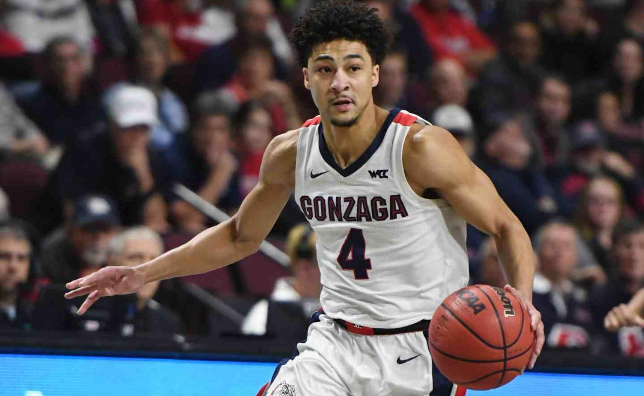 Ryan Woolridge of Gonzaga Bulldogs brings the ball up the court at West Coast Conference basketball tournament