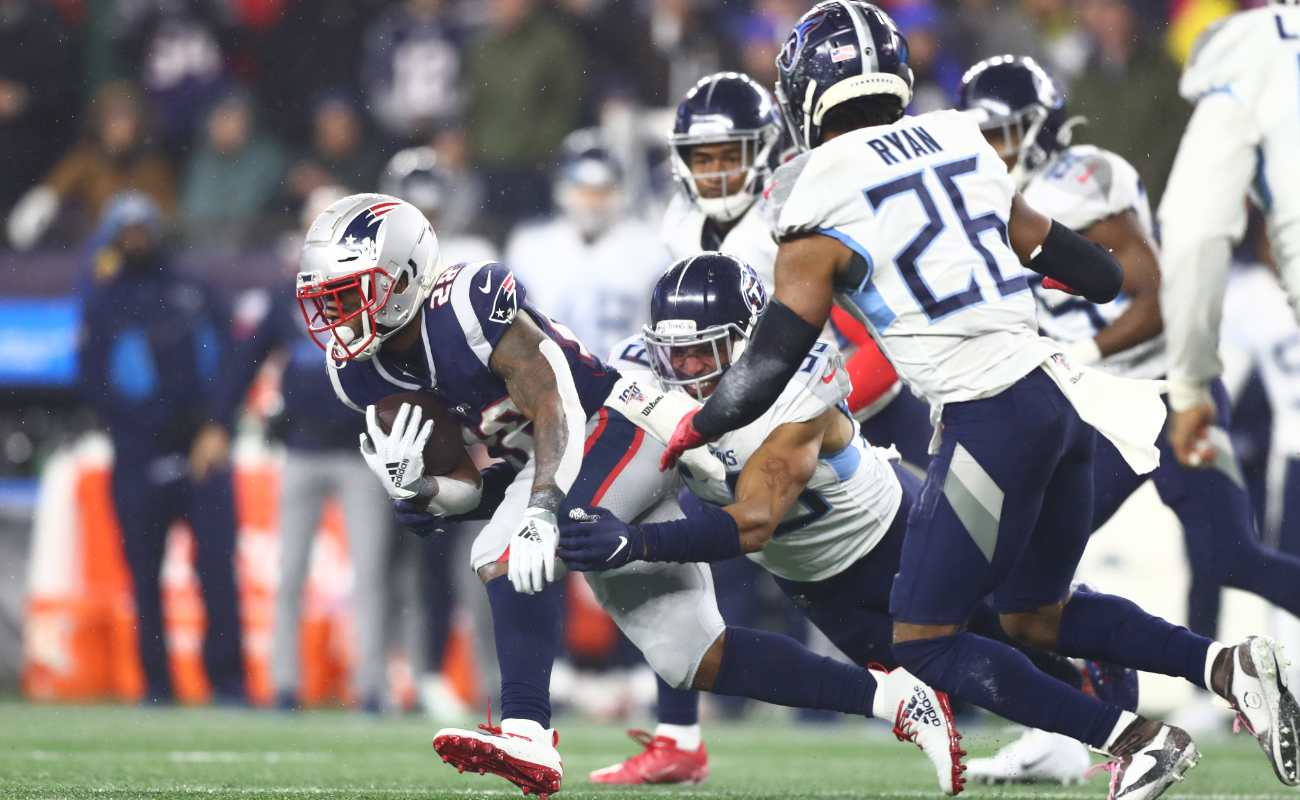 James White #28 of the New England Patriots carries ball against Tennessee Titans in the AFC Wild Card Playoff game