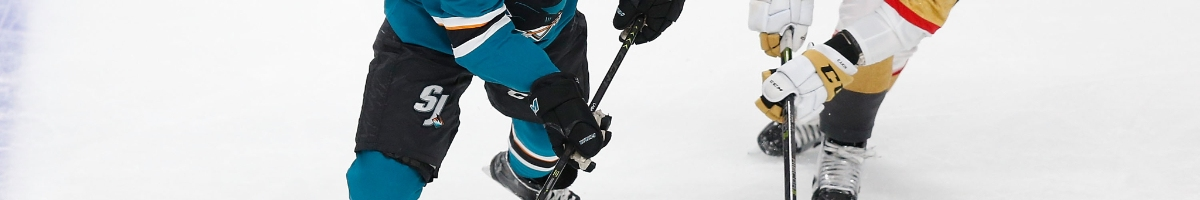 Cody Eakin #21 of the Vegas Golden Knights competes for the puck against Kevin Labanc #62 of the San Jose Sharks