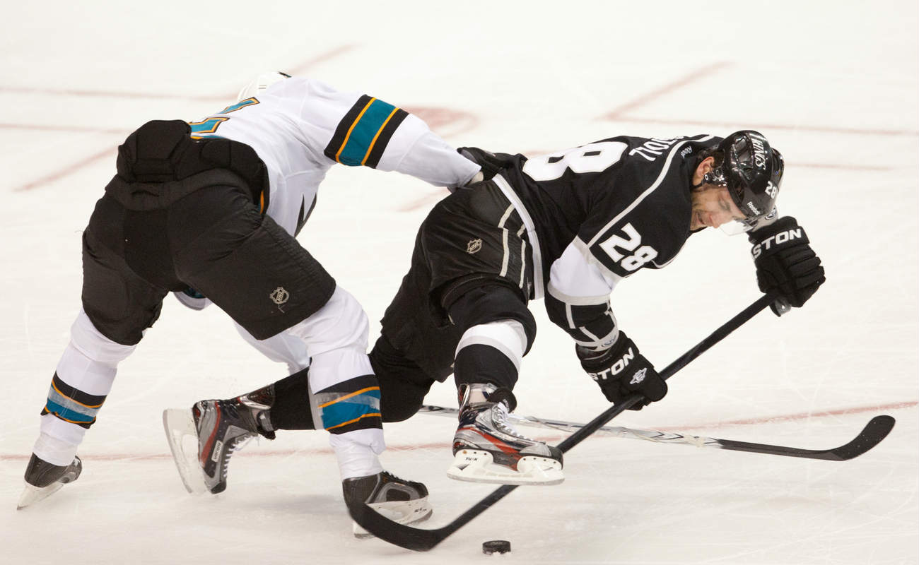 Dan Boyle and C Jarret Stoll during the National Hockey League