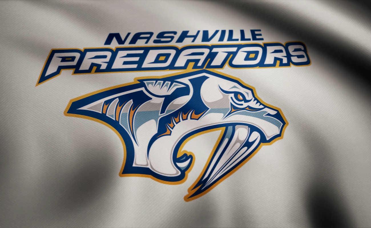 Waving flag with Nashville Predators NHL hockey team logo