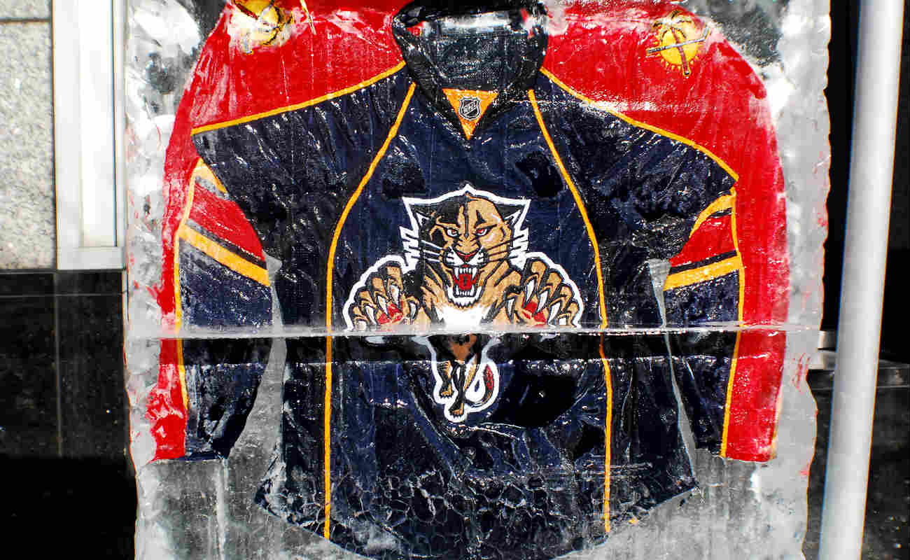 Florida Panthers jersey in an ice block