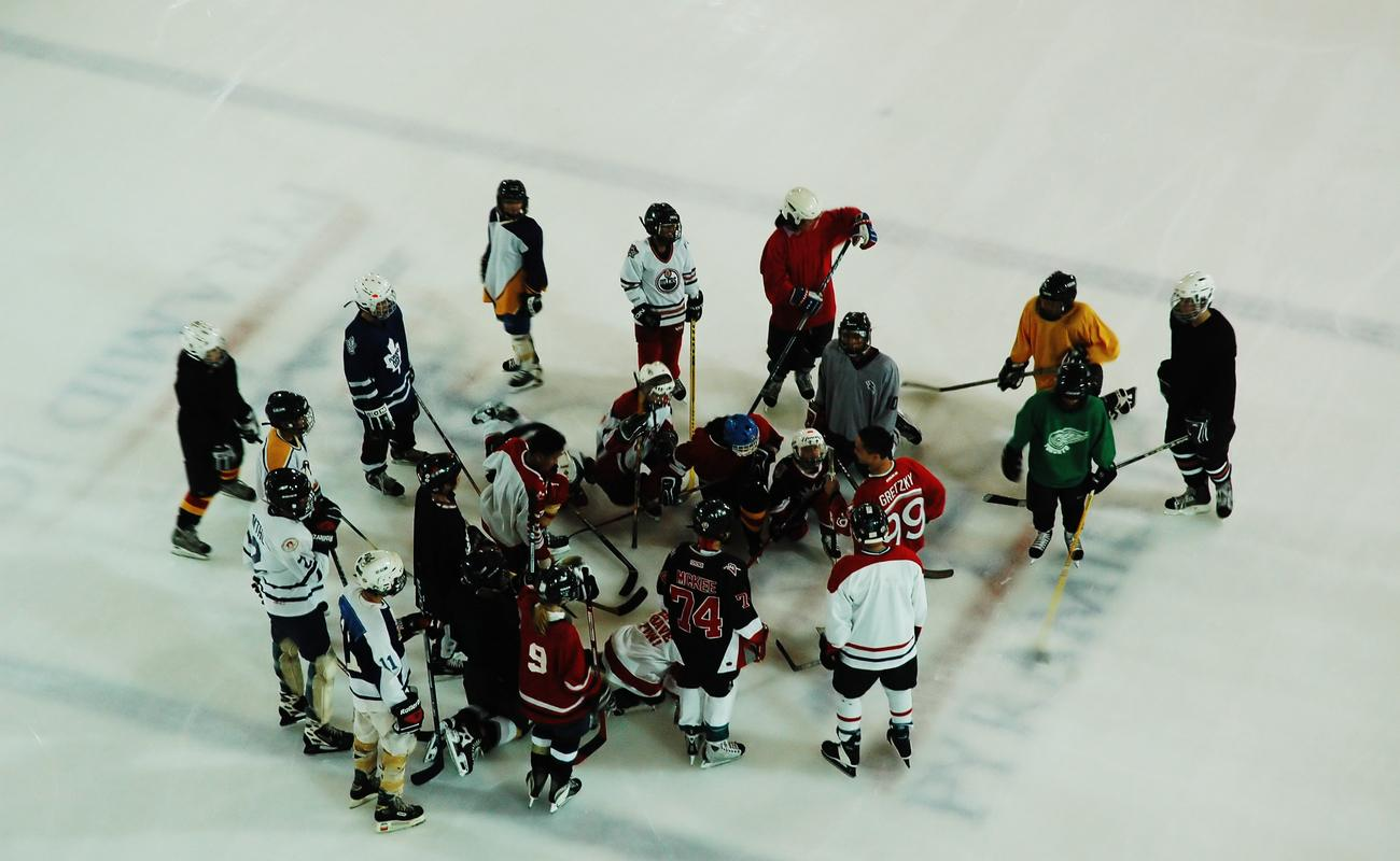 A team of junior ice hockey players in practice