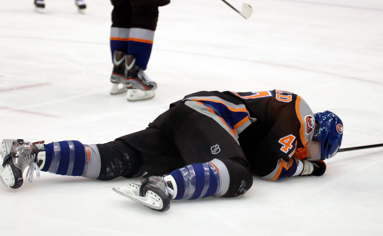 Andrew MacDonald, of the New York Islanders, injured in a game