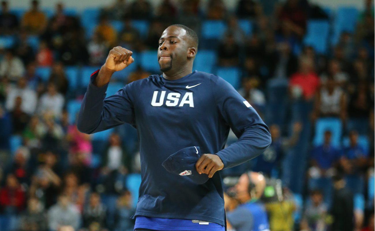 Draymond Green warming up with the USA basketball team