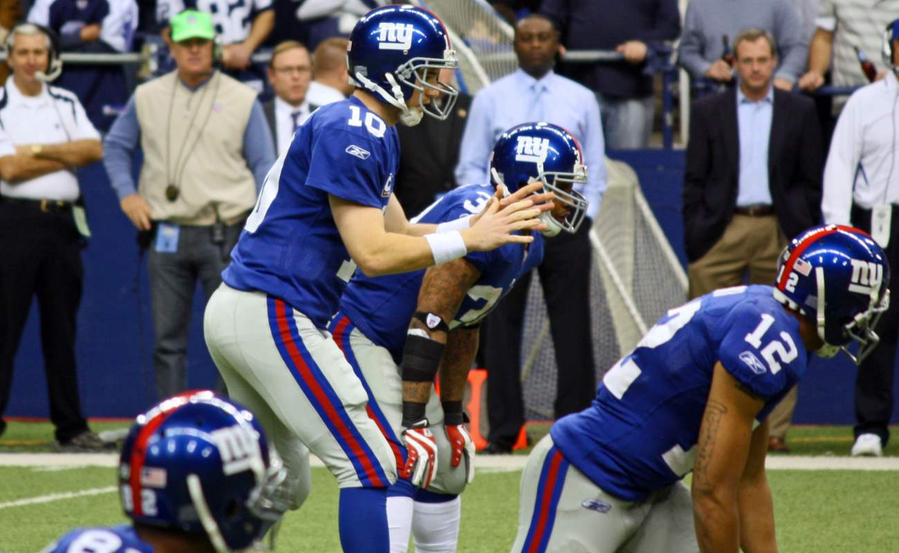 New York Giants in their blue jerseys