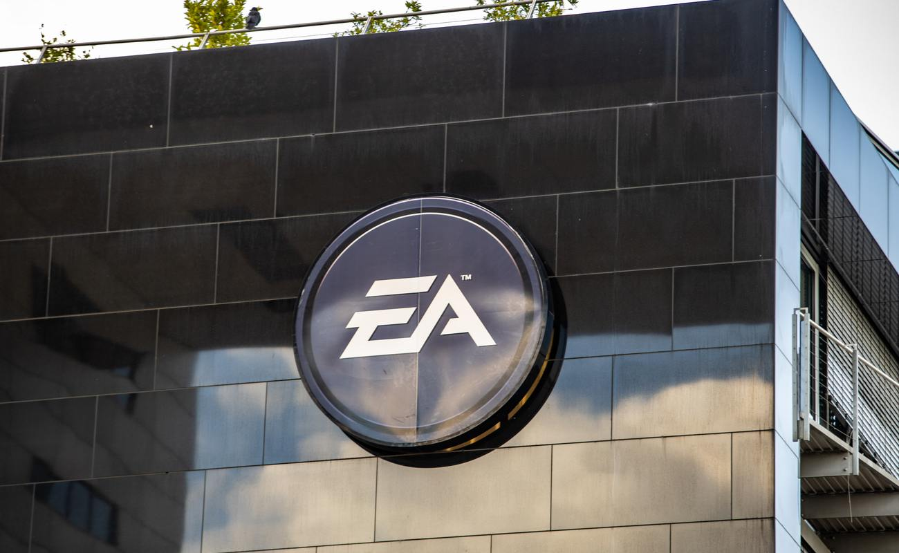Black EA logo outside of EA offices