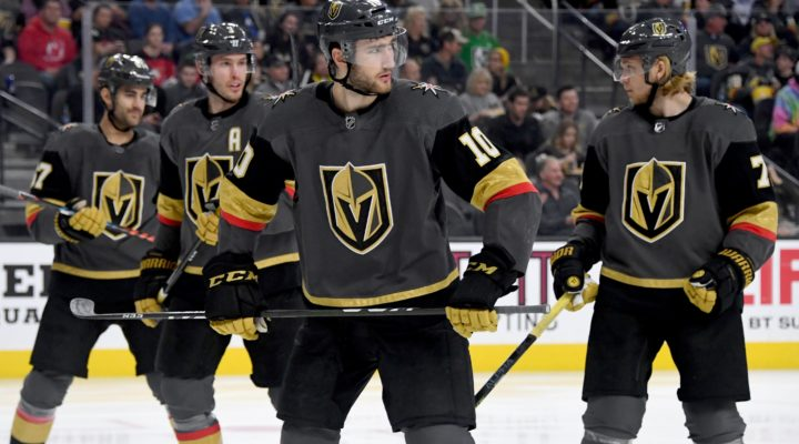 Max Pacioretty #67, Brayden McNabb #3, Nicolas Roy #10 and William Karlsson #71 of the Vegas Golden Knights