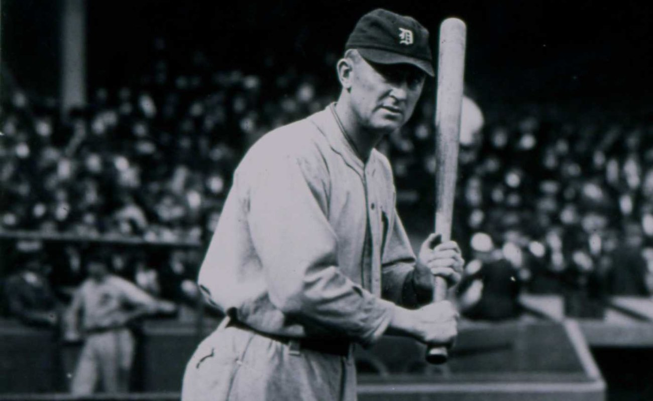 Ty Cobb poses for a Paul Thompson photographer before a game in 1920