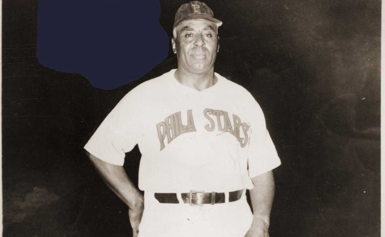 Manager Oscar Charleston, poses on the mound in his Philadelphia Stars uniform before a game in 1949