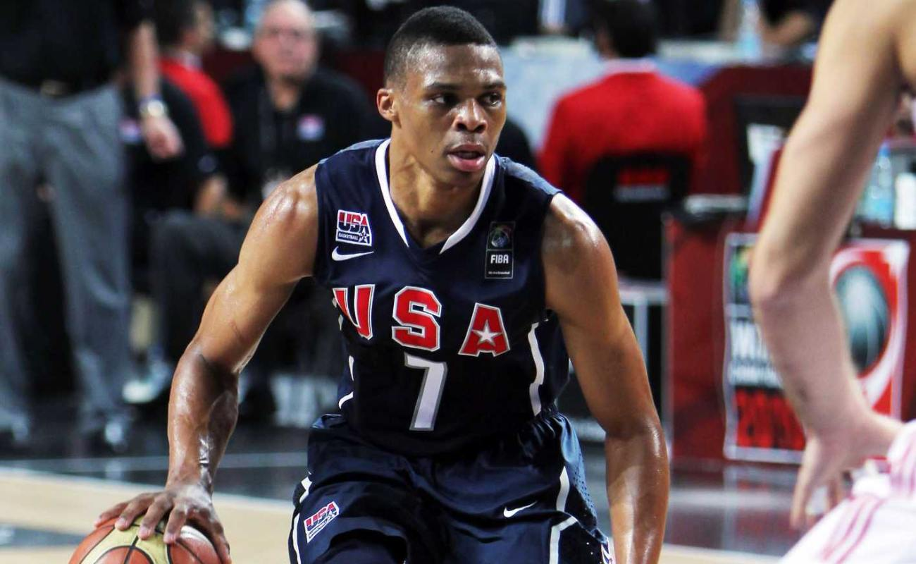Russel Westbrook (L) of USA in action at the 2010 World Championships of Basketball during the final game between USA and Turkey