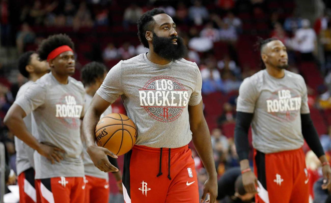James Harden #13 of the Houston Rockets warms up prior to the game against the LA Clippers