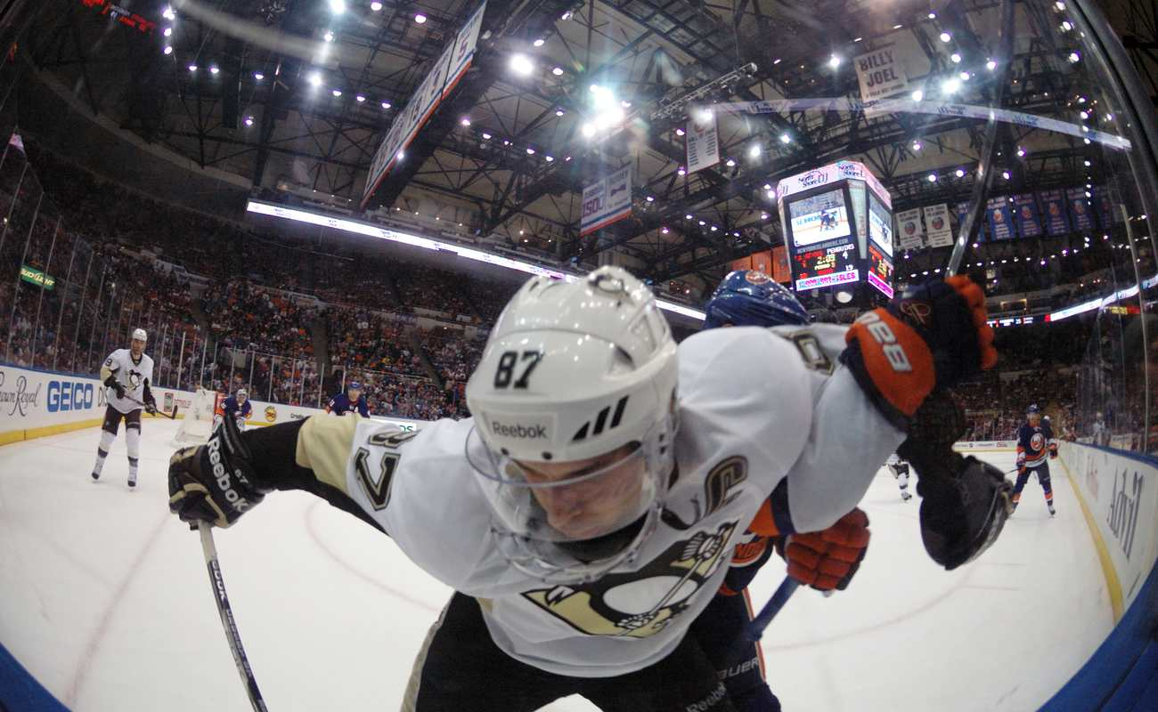 fish-eye view of Sidney Crosby of the Pittsburgh Penguins