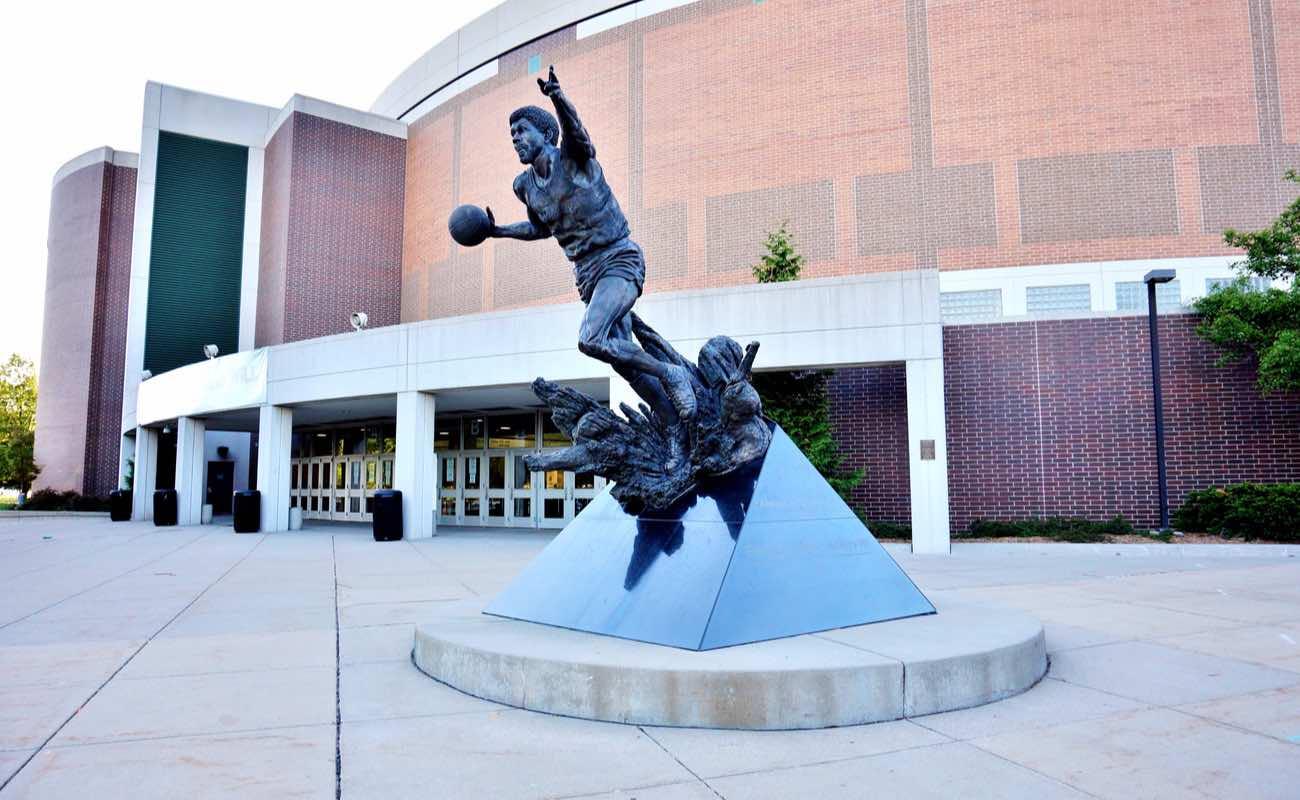 Statue of former basketball star Earvin Magic Johnson at Michigan State University