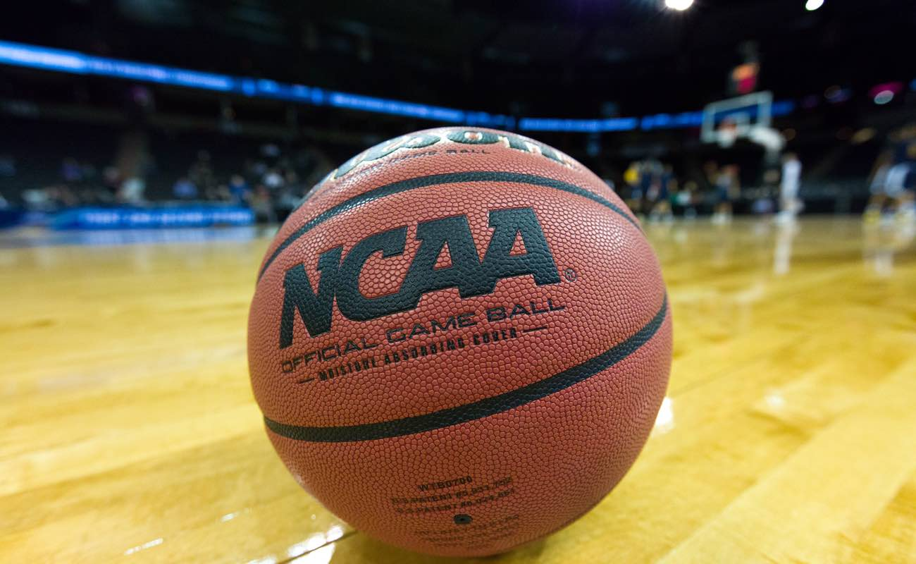 A game ball sits on court the day prior to the start of the 2016 National Collegiate Men's Basketball Tournament