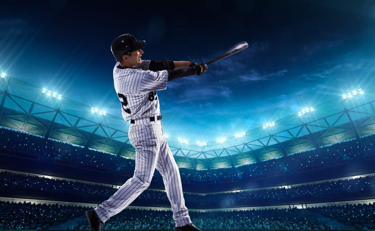 Professional hitter playing baseball on the grand arena in night