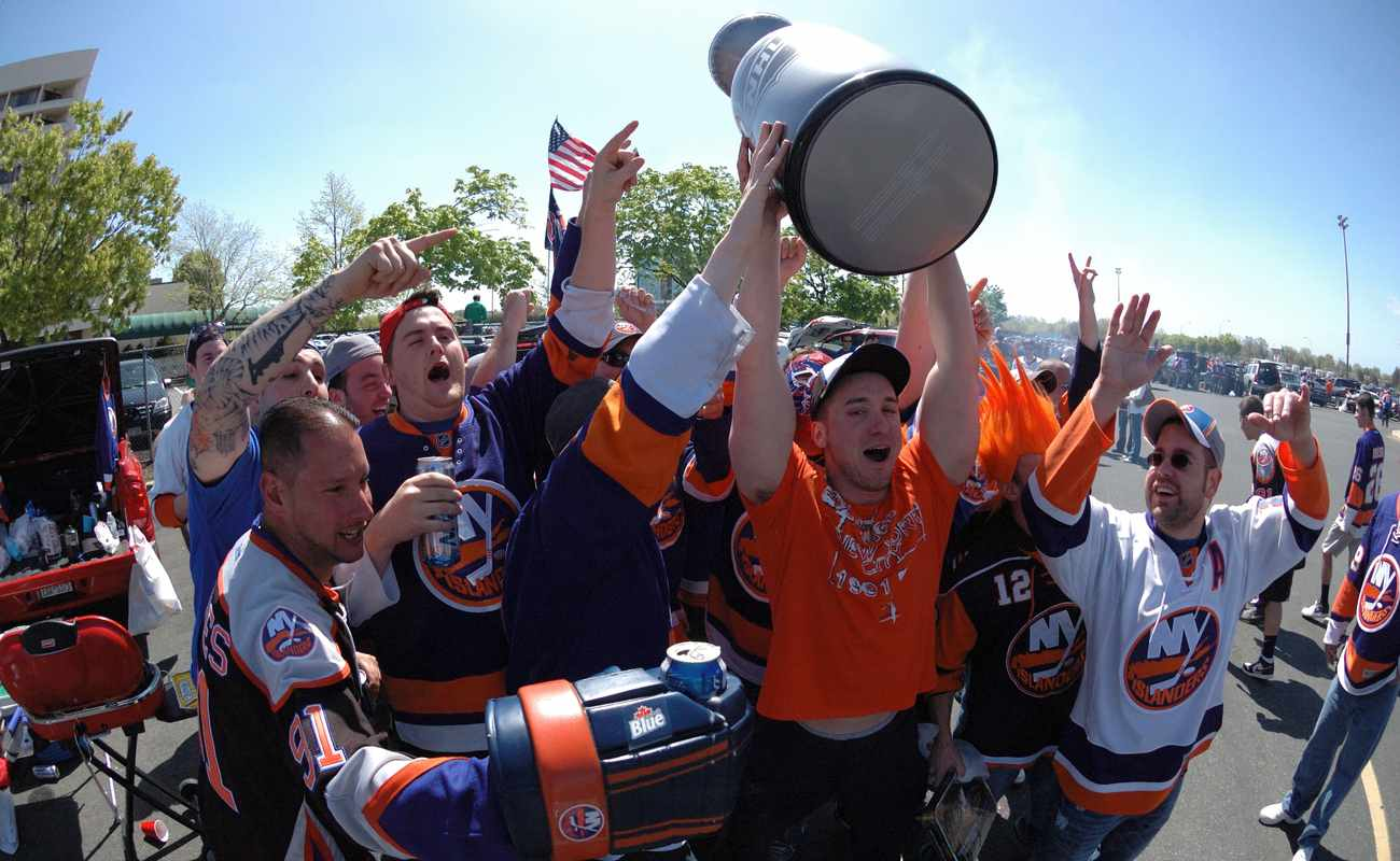 NHL Hockey: New York Islanders fans tailgating in the parking lot