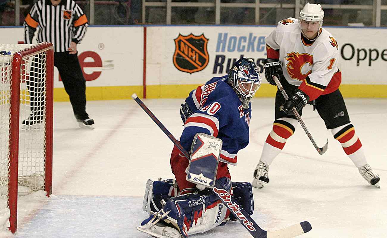 Jussi Markkanen of the New York Rangers in action against the Calgary Flames