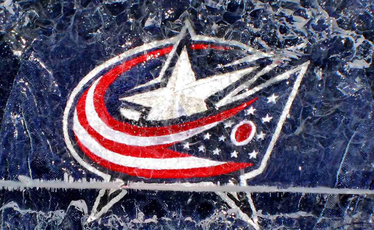 Columbus Blue Jackets jersey in an ice block