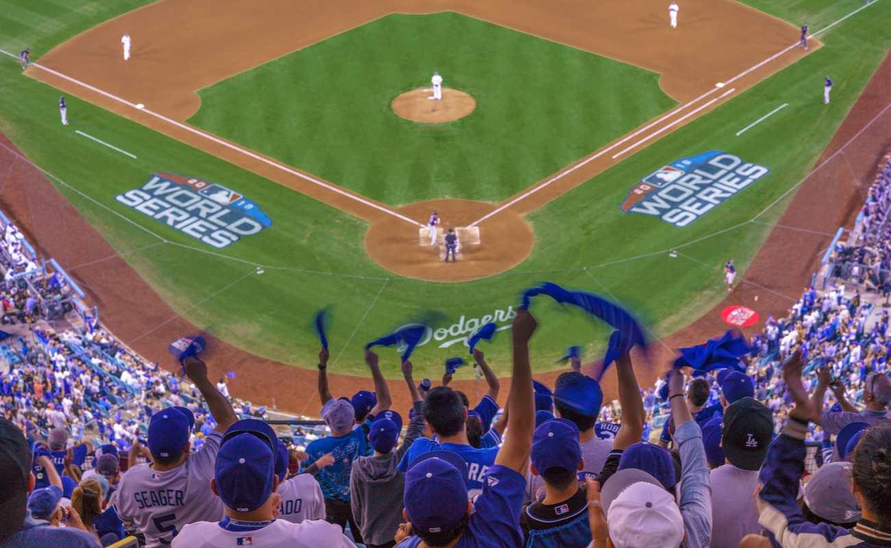 fans celebrate as LA Dodgers defeat Boston Red Sox