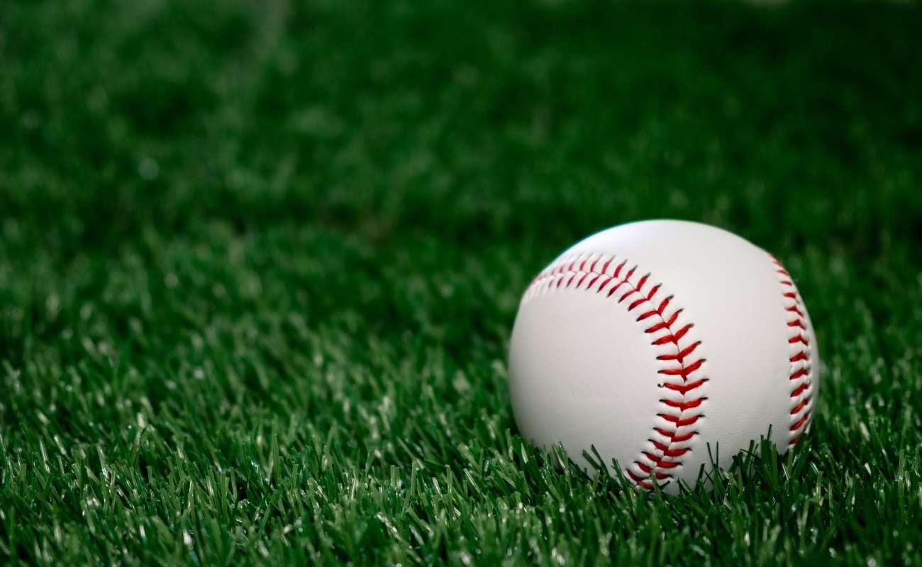 Baseball sitting on green grass