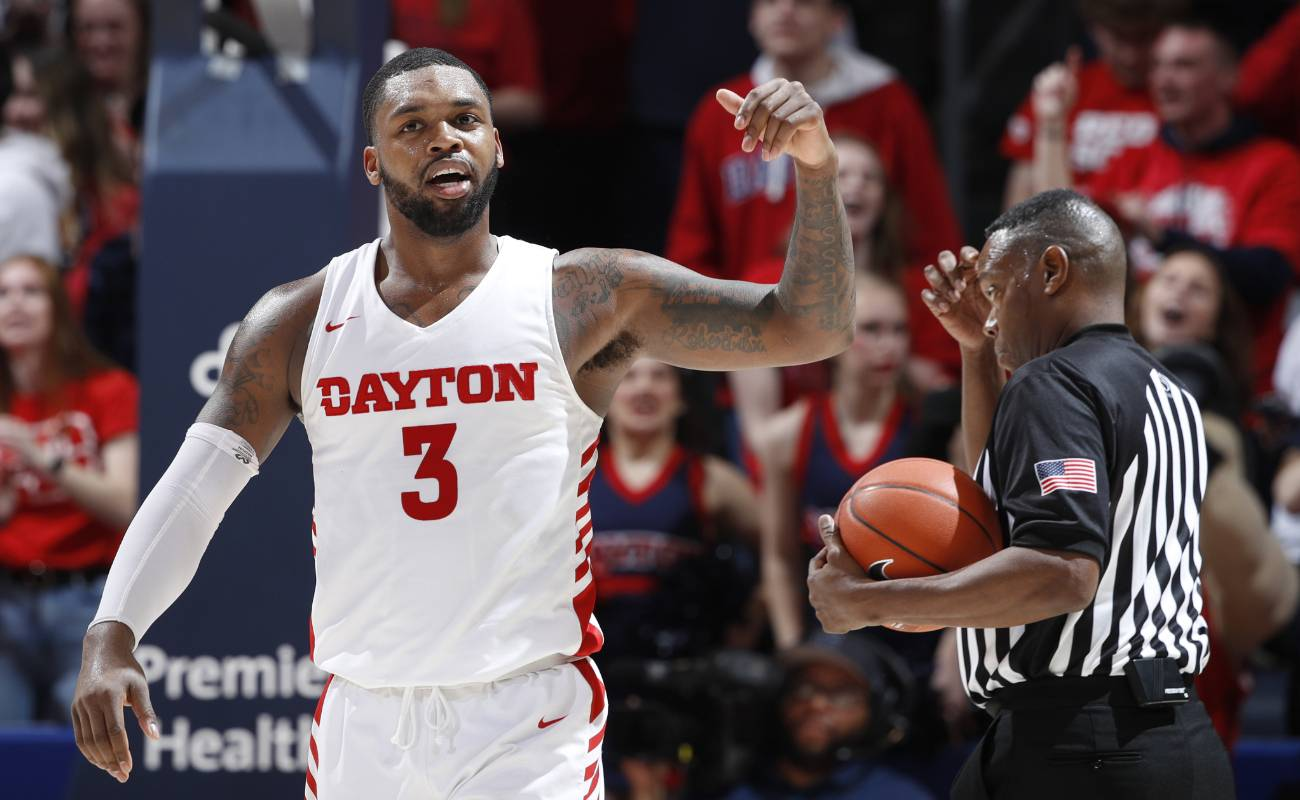 Trey Landers #3 of the Dayton Flyers reacts during a game against the George Washington Colonials