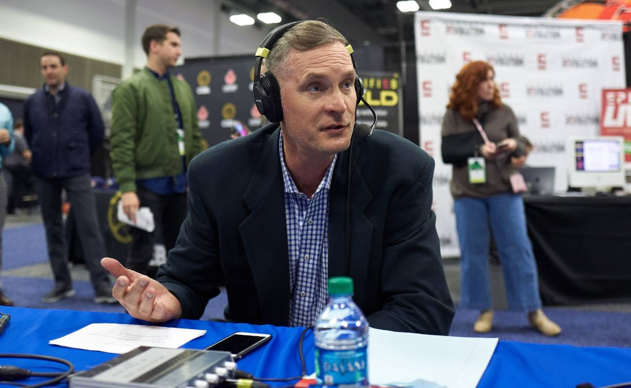 SiriusXM guest Christian Laettner during the NCAA final Four radio broadcast 2019
