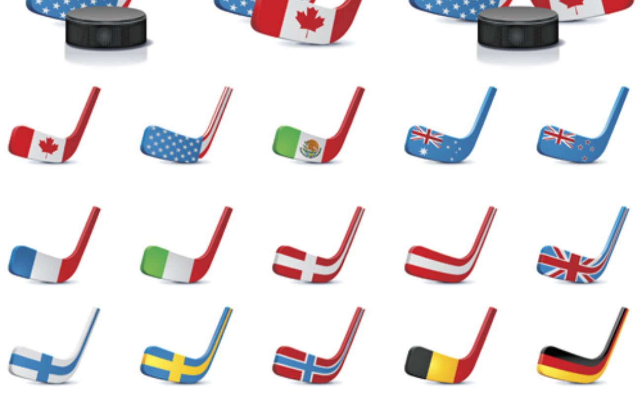 Vector ice hockey sticks country flags icons