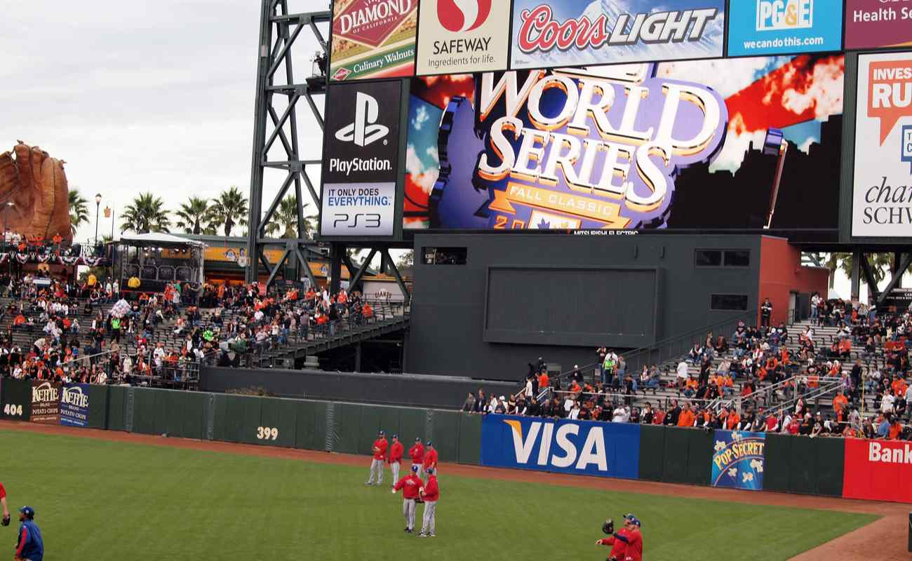 Rangers players standing during a World Series game