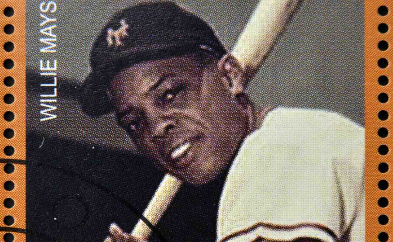 A stamp dedicated to greatest baseball players, shows Willie Mays