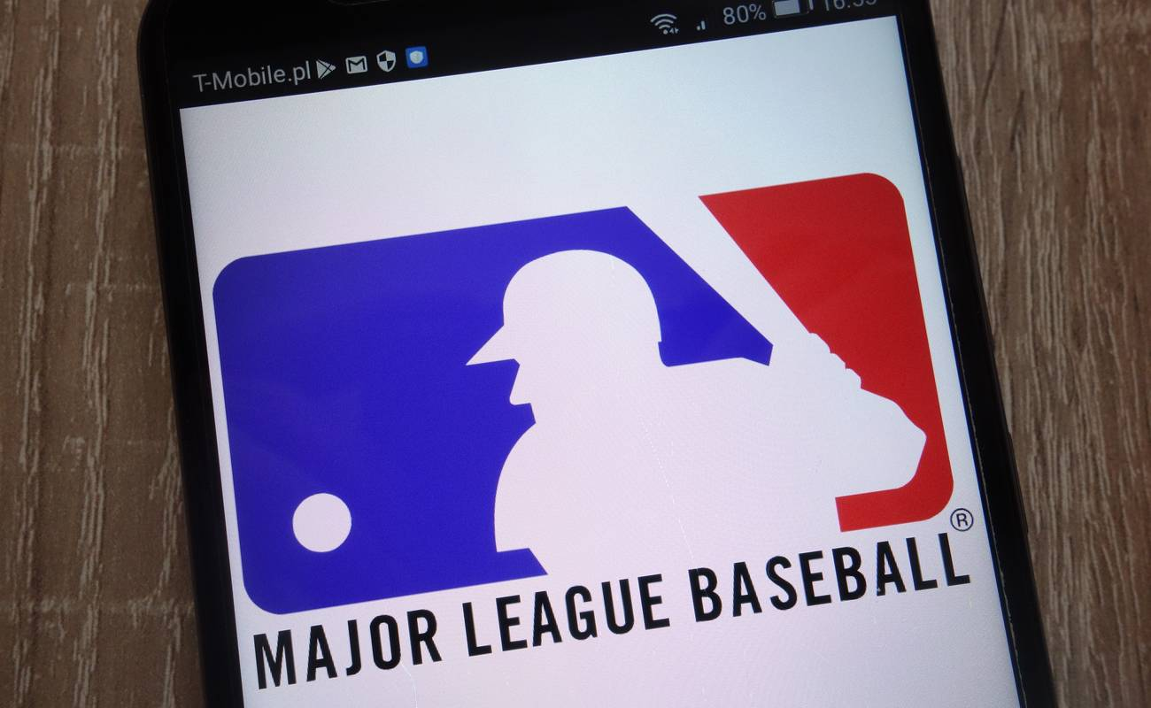 Major League Baseball logo displayed on a modern smartphone