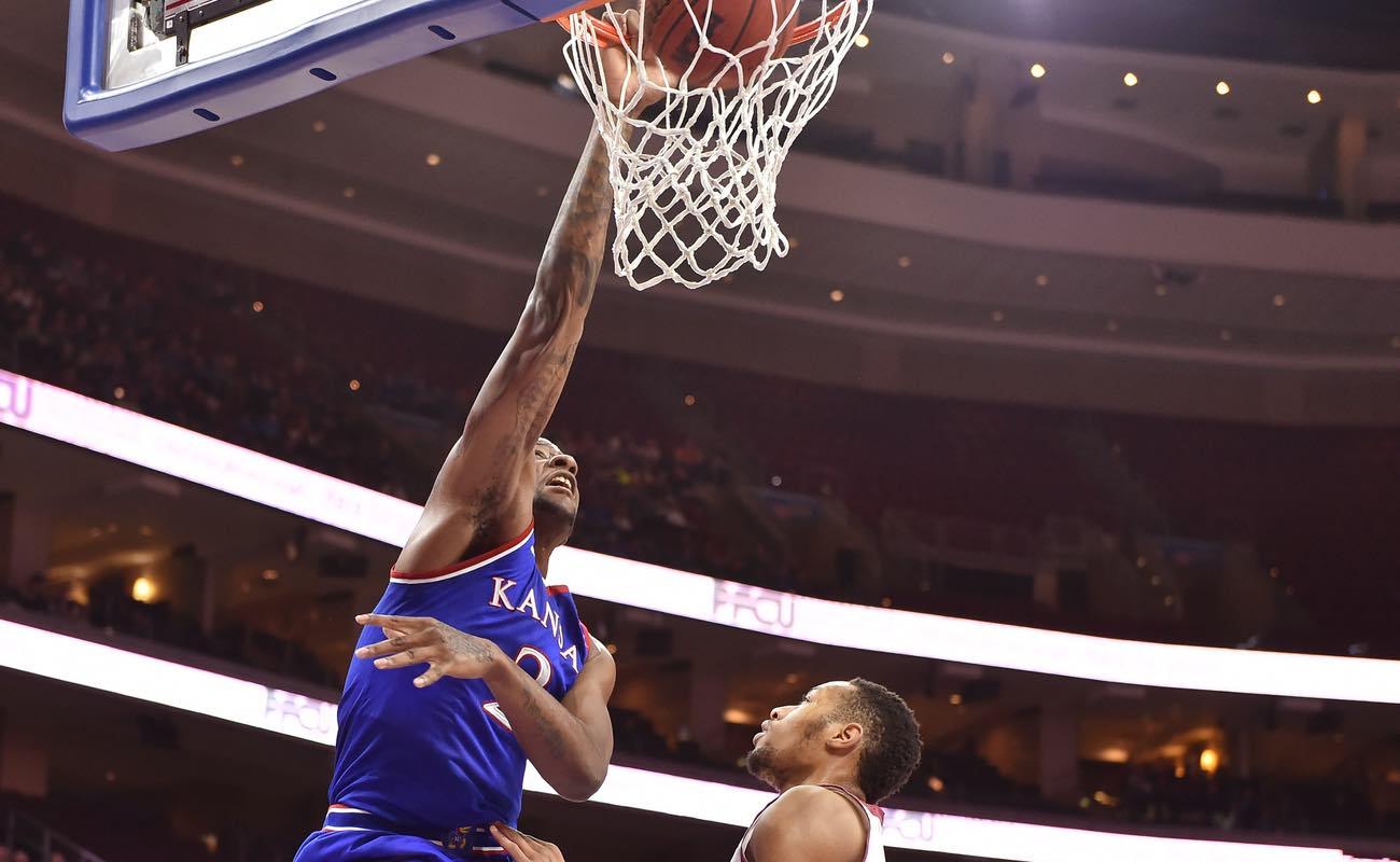 Kansas forward Cliff Alexander finishes a slam dunk