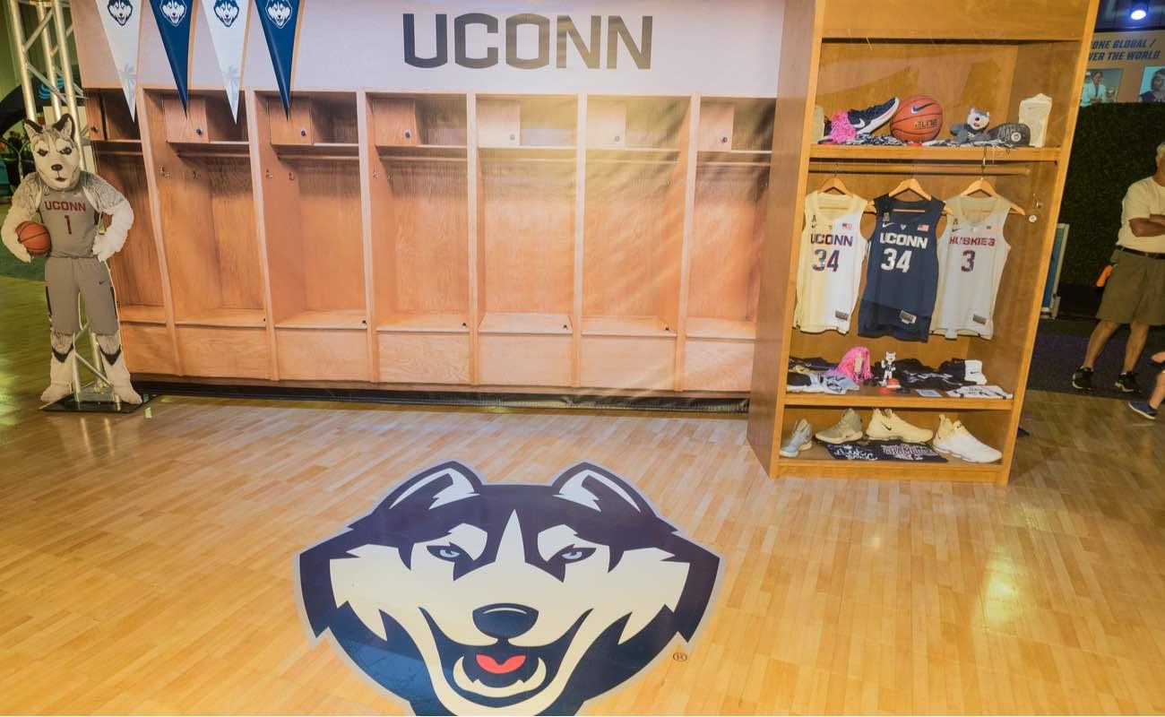 UCONN Locker Room featuring Wolf Mascot